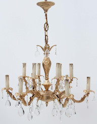 Antique large ormolu brass bronze 12 lamp crystal chandelier FREE DELIVERY