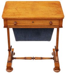 Antique William IV C1835 birdseye maple work / sewing box or table