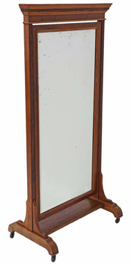Antique large quality Victorian walnut and oak cheval mirror
