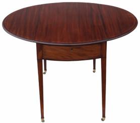 Antique Regency inlaid mahogany Pembroke side tea or sofa table