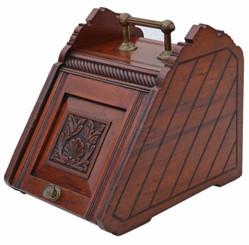 Antique Victorian C1900 carved walnut coal scuttle box or purdonium