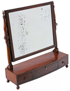 Antique quality Regency C1825 mahogany toilet swing dressing table mirror
