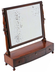 Antique quality Regency C1825 mahogany toilet swing dressing table mirror