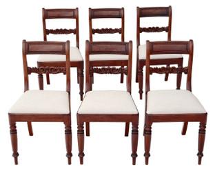 Antique set of 6 Regency / William IV C1820-40 mahogany dining chairs