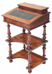 Antique 19C Victorian burr walnut davenport desk writing table