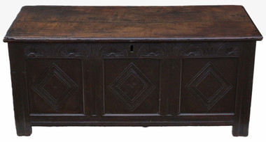 Antique 18th Century large Georgian oak coffer or mule chest