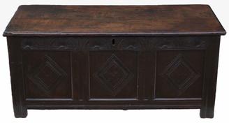 Antique 18th Century large Georgian oak coffer or mule chest