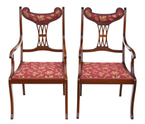 Antique quality pair of inlaid mahogany elbow chairs C1905