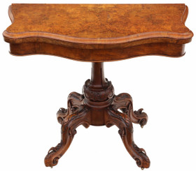 Antique quality Victorian C1870 burr walnut serpentine folding card table