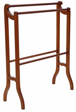 Antique quality Edwardian inlaid mahogany towel rail stand