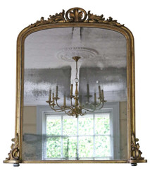 Antique large Victorian gilt wall mirror overmantle C1860