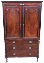 Antique 19C Regency mahogany wardrobe armoire linen press