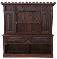 Antique large Victorian Gothic carved oak sideboard chiffonier dresser