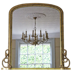Antique large Victorian gilt wall mirror overmantle C1870