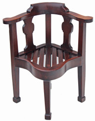 Antique 19C oak corner chair desk armchair hall