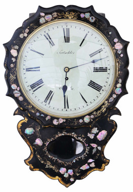 Antique rare Victorian mother of pearl inlaid single fusee wall clock