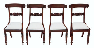 Antique quality set of 4 William IV mahogany bar back dining chairs C1835