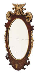 Antique large Regency revival mahogany and gilt wall mirror C1900