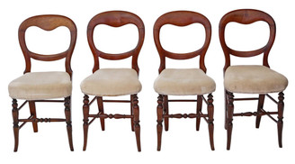 Antique set of 4 Victorian C1890 beech balloon back dining chairs