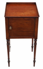 Antique late Georgian mahogany tray top bedside pot cupboard table cabinet