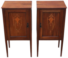 Antique pair of Edwardian inlaid bedside tables cupboards cabinets C1905