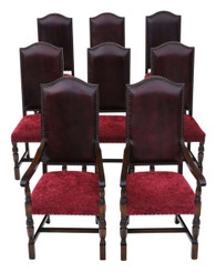 Antique quality set of 8 (6+2) oak dining chairs 18th Century reproduction