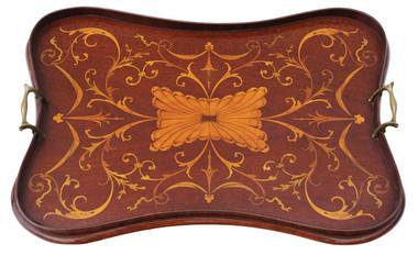 Antique Victorian C1890 quality inlaid mahogany serving tray tea