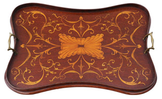 Antique Victorian C1890 quality inlaid mahogany serving tray tea