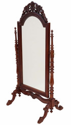 Antique large quality Regency reproduction mahogany cheval mirror