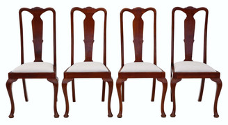 Antique set of 4 Queen Anne revival mahogany high back dining chairs C1920
