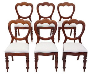 Antique set of 6 Victorian mahogany cloud balloon back dining chairs C1890