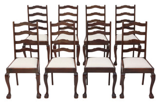 Antique quality set of 8 mahogany ladder back dining chairs