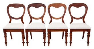 Antique quality set of 4 Victorian C1870 mahogany balloon back dining chairs