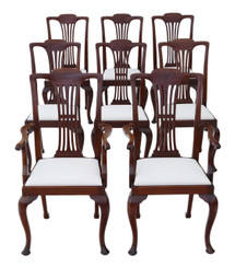 Antique set of 8 (6+2) C1920 mahogany Chippendale revival dining chairs