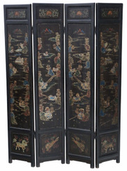 Antique large Victorian Chinoiserie C1900 dressing screen room divider