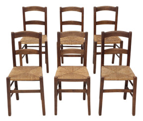 Antique set of 6 Victorian C1900 beech kitchen dining chairs rush seats