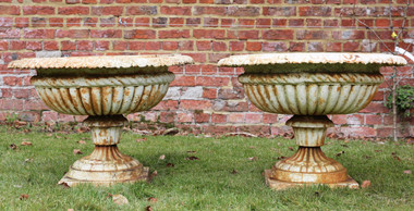 Antique classical pair of cast iron planters urns