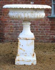 Antique large huge classical cast iron planter on plinth urn