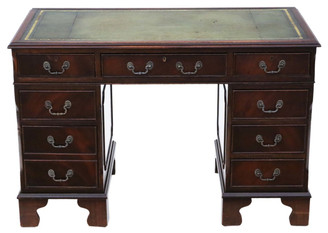 Antique mahogany twin pedestal desk reproduction