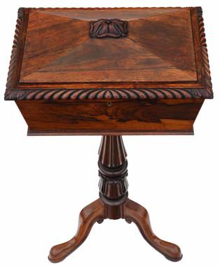 Antique top quality Regency carved rosewood tea ploy C1830