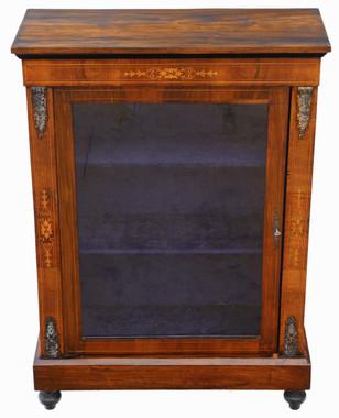 Antique inlaid burr walnut pier display cabinet C1880
