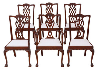 Antique quality set of 6 (4+2) mahogany Georgian revival dining chairs