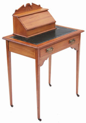 Antique Victorian 19C satinwood leather ladies writing table desk dressing