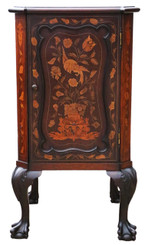 Antique quality marquetry inlaid mahogany bedside table cupboard cabinet