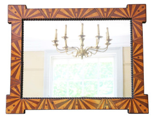 Antique quality Victorian C1900 parquetry wall mirror or overmantle