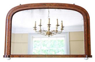 Antique large Victorian burr walnut wall mirror overmantle C1890