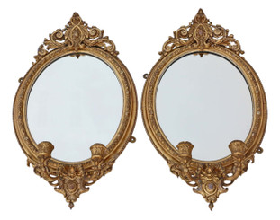 Antique pair early 19th Century gilt girandole wall mirrors