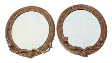 Antique pair 19th Century Victorian gilt girandole wall mirrors