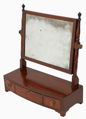 Antique Georgian Regency C1820 mahogany dressing table swing mirror toilet