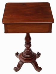 Antique Victorian C1840 mahogany side occasional wine table
